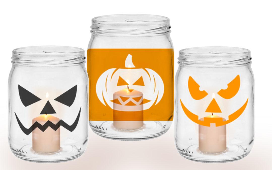 DIY: Halloween Windlichter mit Klebefolie selbst gestalten